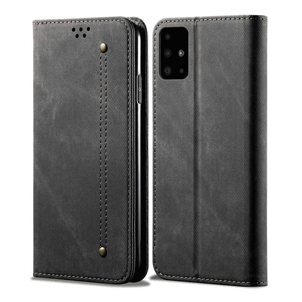 Samsung A51 Wallet case Premium PU Leather Folio Flip Cover with Magnetic Closure & Credit Slots Black