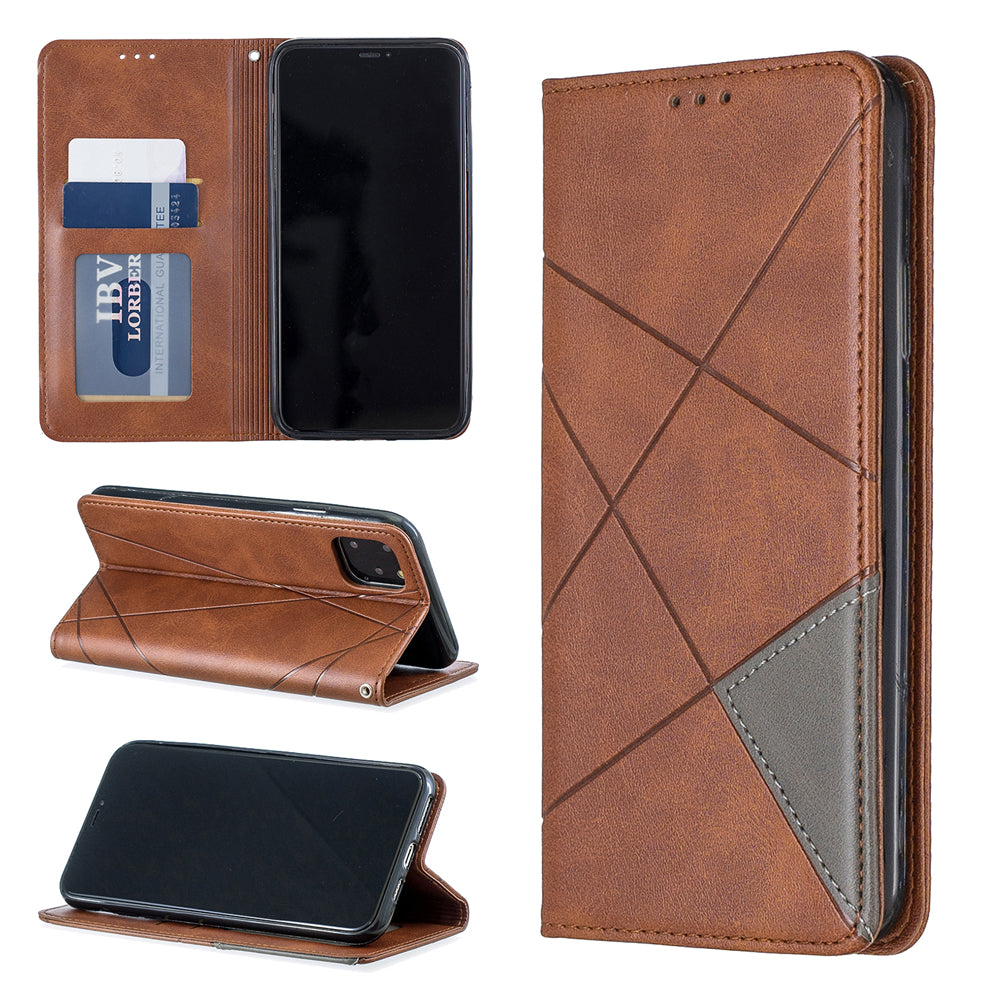 iPhone 11 pro max Wallet Case with 2 Card Holder Diamond Leather Case Brown
