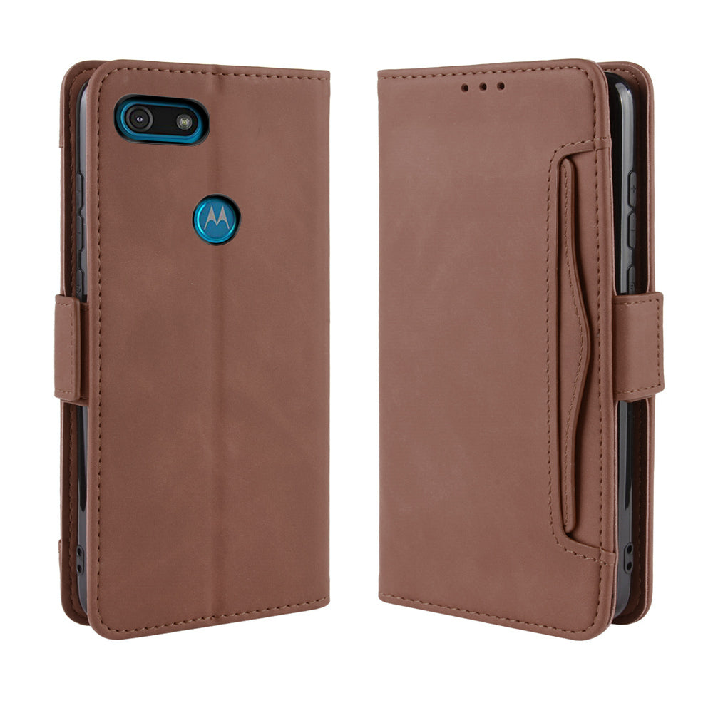 Leather Wallet Case for Moto E6 Play Protective Shockproof Case Cover with Credit Card Slots Brown