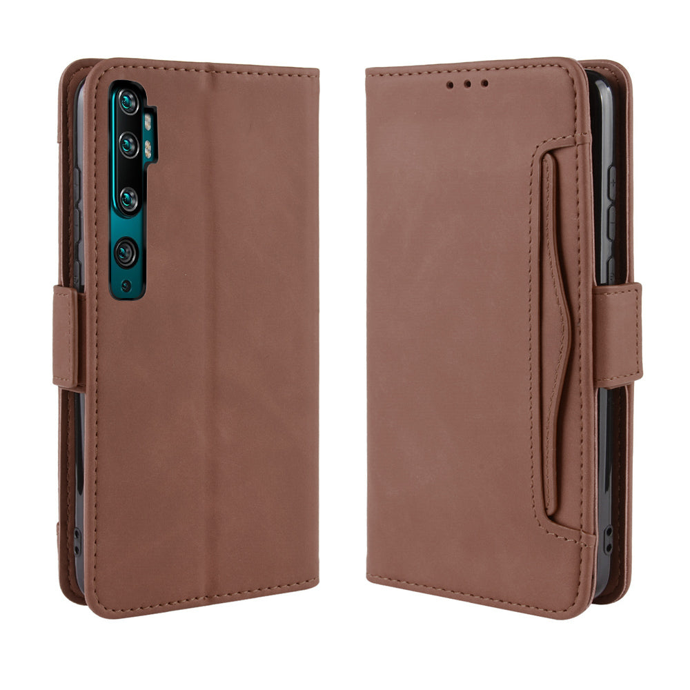 Xiaomi Mi Note 10 Leather Case Multi-Card Slots Full Body Protection Wallet Cover Brown