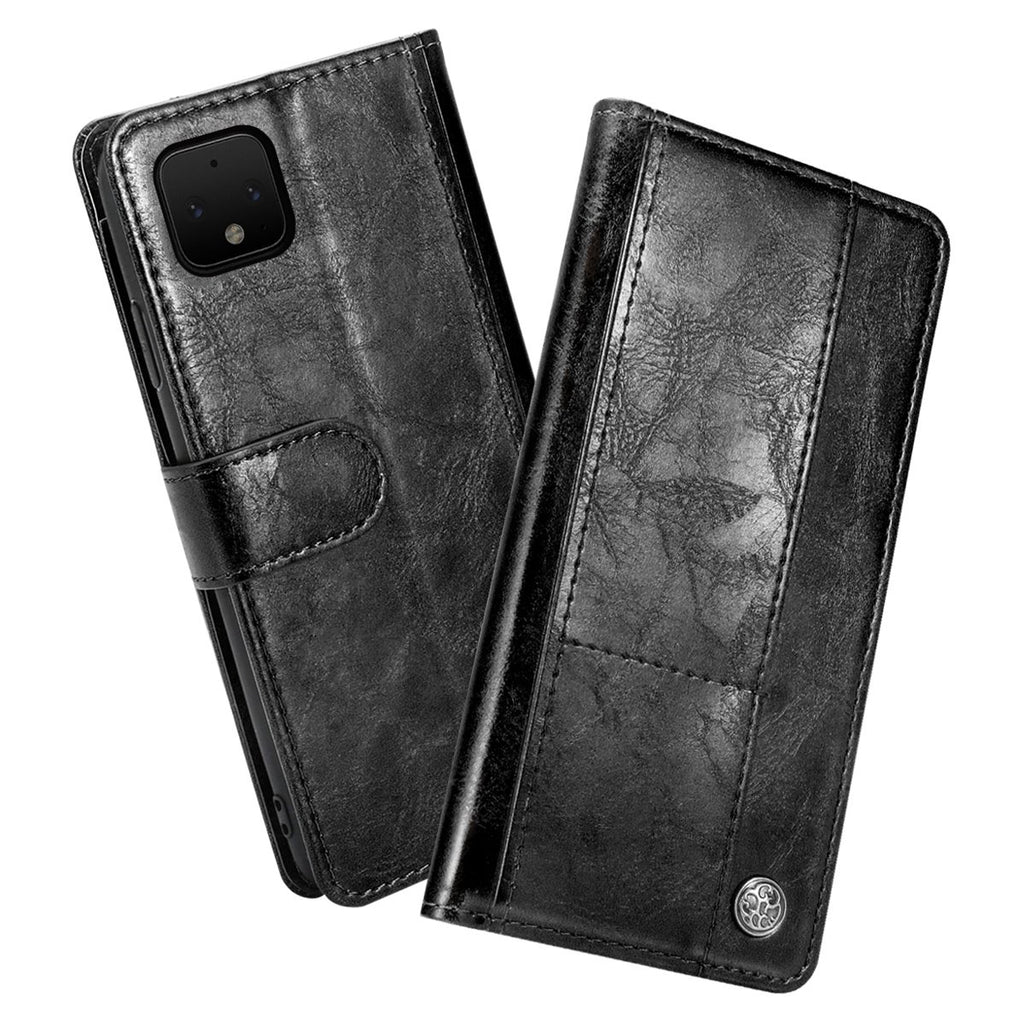 Pixel 4 Wallet Case Leather Protective Cover with Multi-card Holder Black