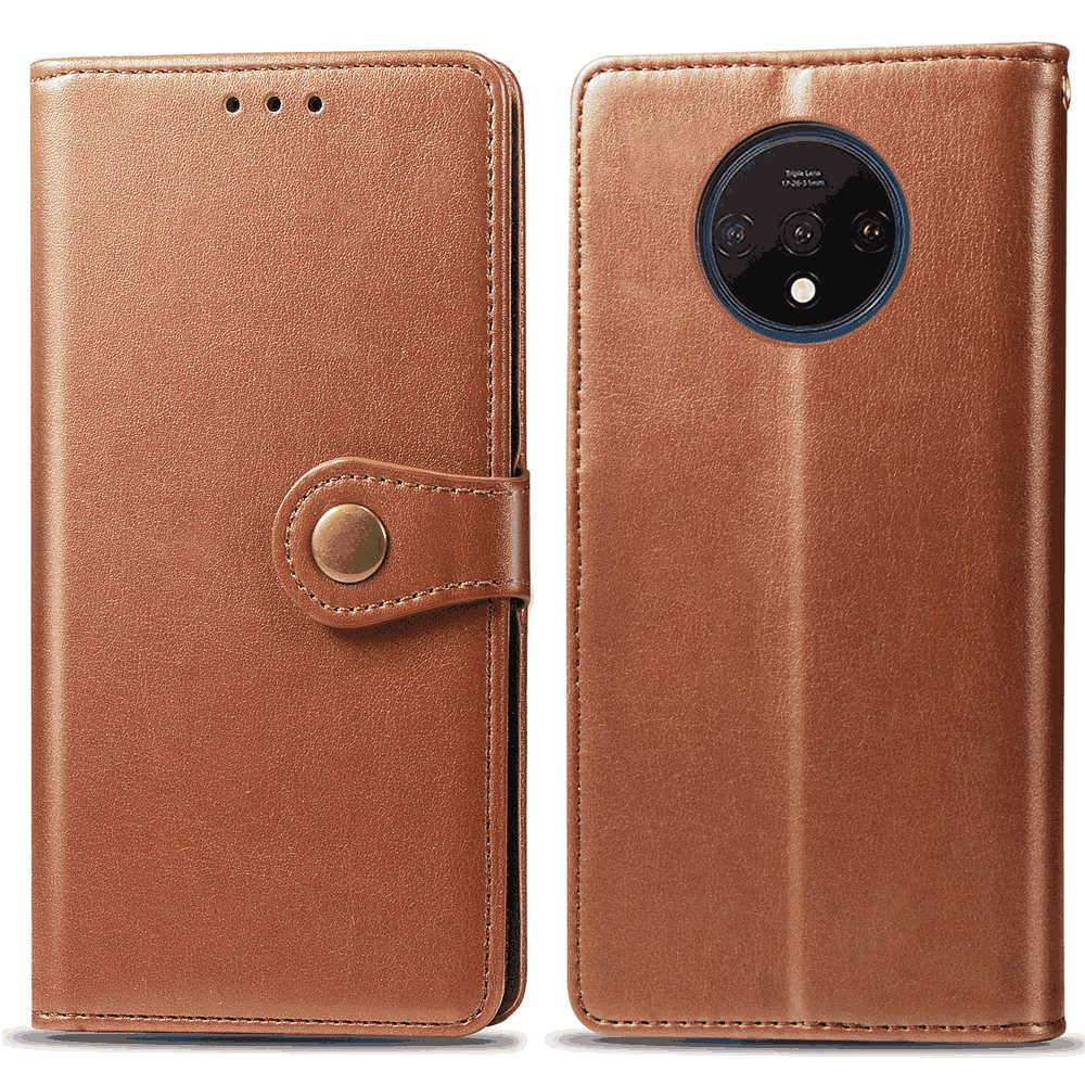 Oneplus 7T Wallet Case Folio Bumper Cover with Kickstand Magnetic Closure Light Brown