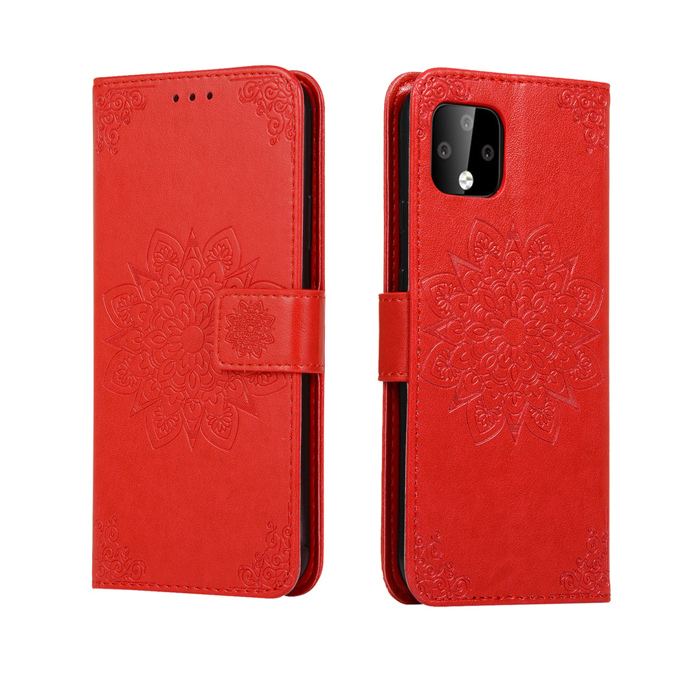 Pixel 4 Wallet Case Kaleidoscope Style Flip Leather Phone Case with Card Slots Red