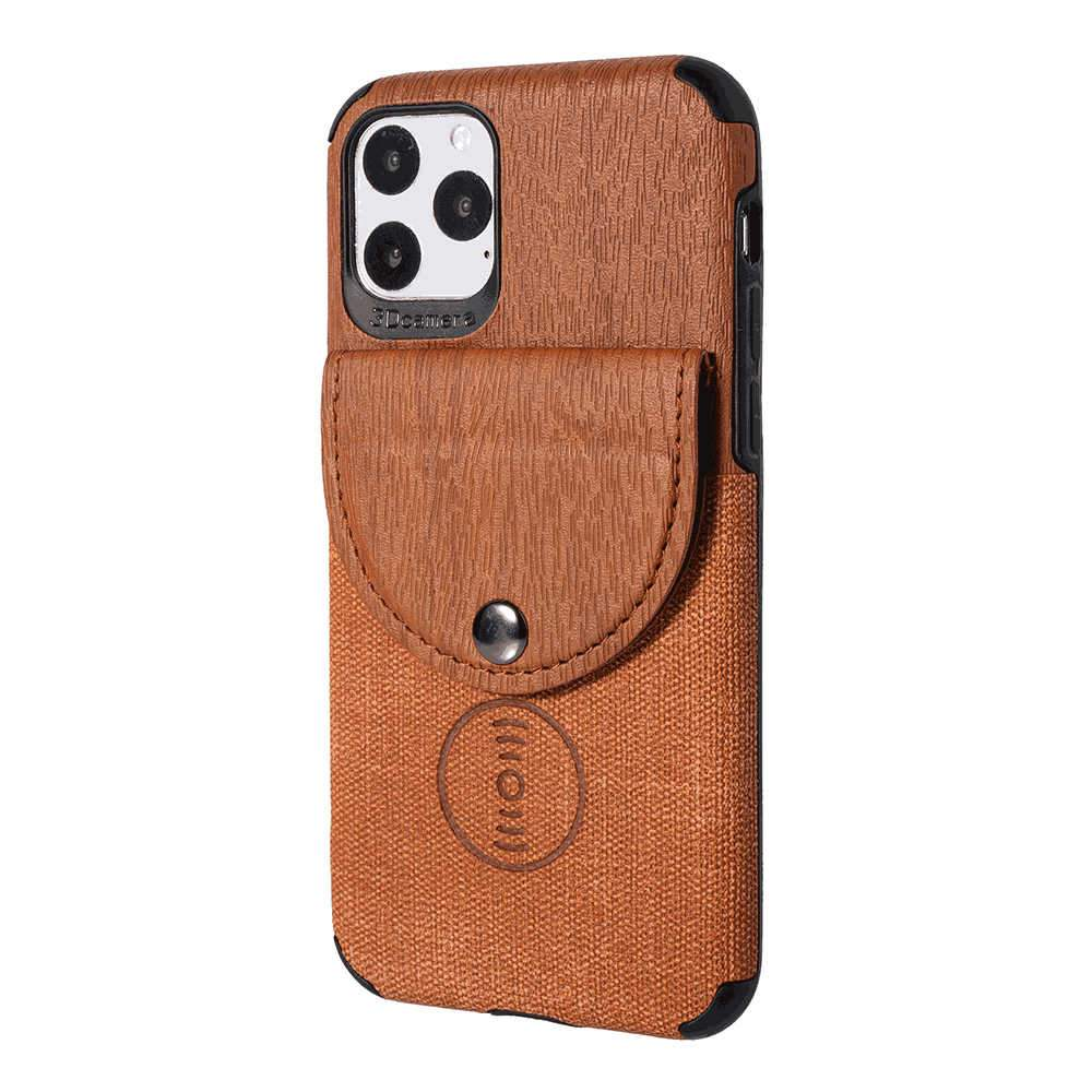 iPhone 11 6.1 Inch Case Contrast Wood Grain Leather Wallet Case Card Slots Cover Brown