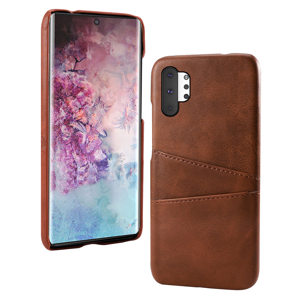Galaxy Note 10 Plus 5G case with card slots anti drop protection leather cover brown