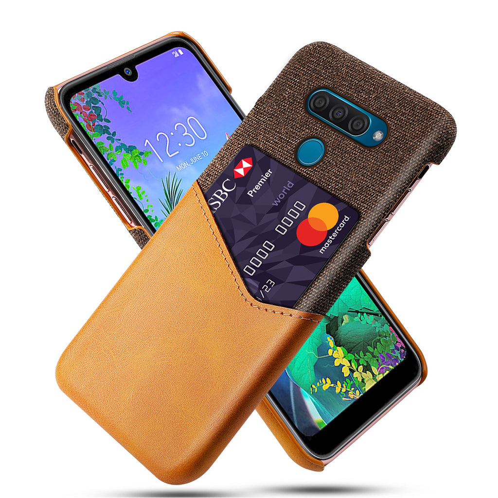 LG Q60 Wallet Case Card Holder Cover Shockproof with Credit Card Slot Orange