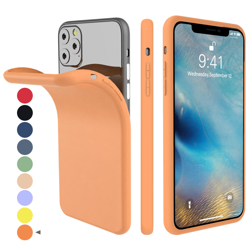 Case for iPhone 11 Pro Max TPU Dropproof Velvet Inner Anti-Scratch Soft Shell Orange