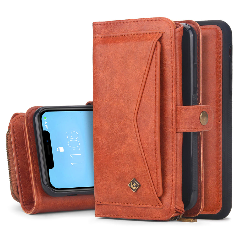iPhone 11 Wallet Case Detachable Shockproof Phone Cover Fit Car Mount Brown