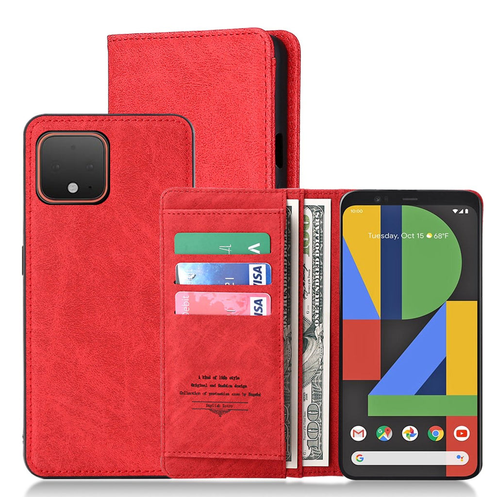 Pixel 4 XL Wallet Case ID Cash Credit Card Slots Holder Folio Leather Cover Detachable Magnetic Case Red