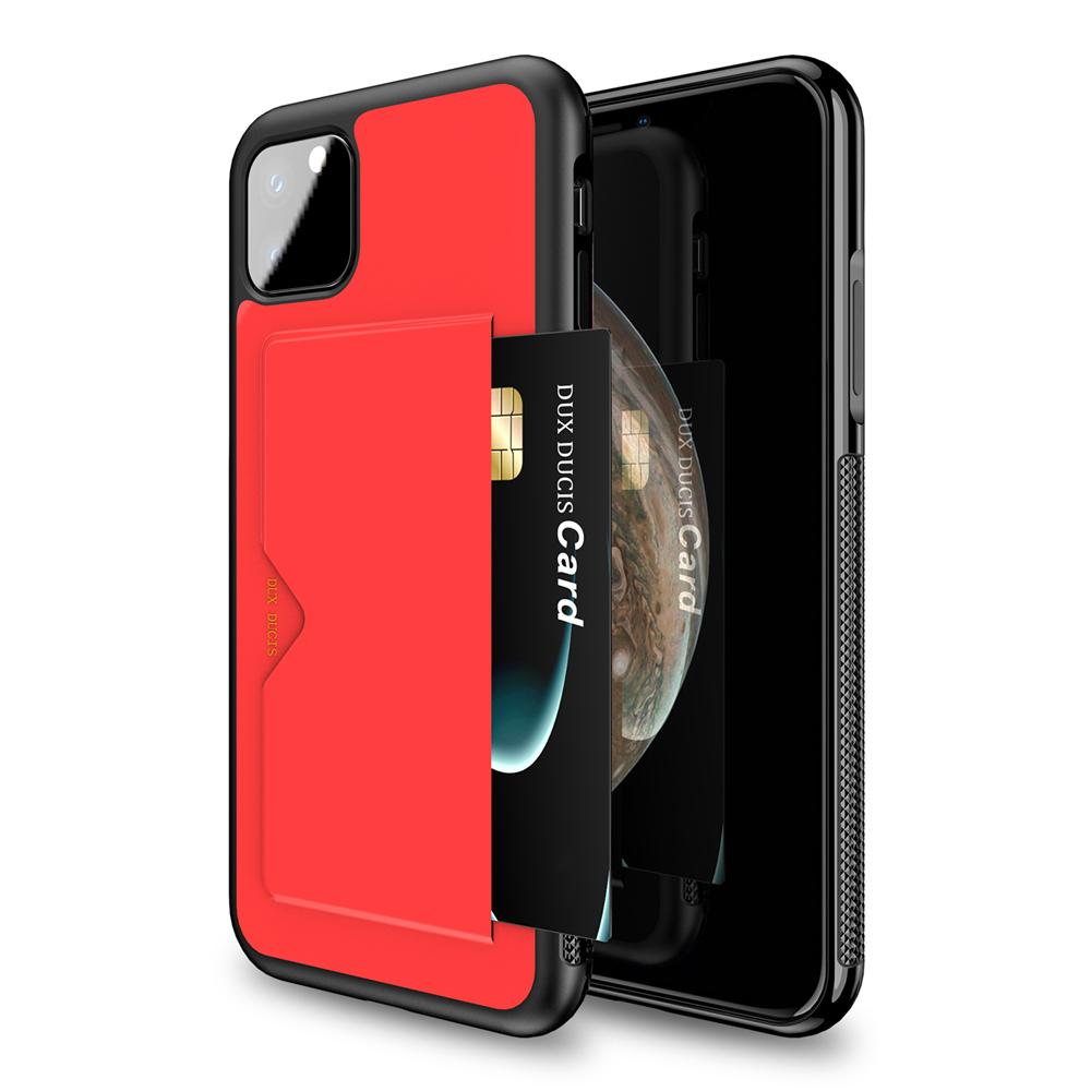 iPhone 11 Pro Case Phone  Case TPU + PC Shockproof Protective Shell with Card Holde Red