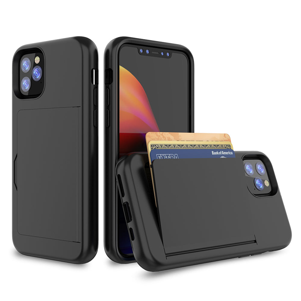 iPhone 11 Pro Case 2 in 1 Heavy Duty Protection Phone Cover Card Holder Black