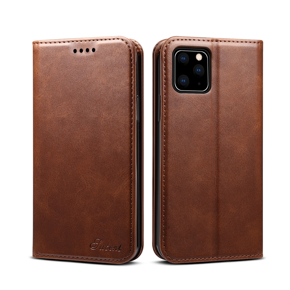 iPhone 11 pro Leather Case Stand Shock Absorbing Wallet Cover Flip Cases Brown