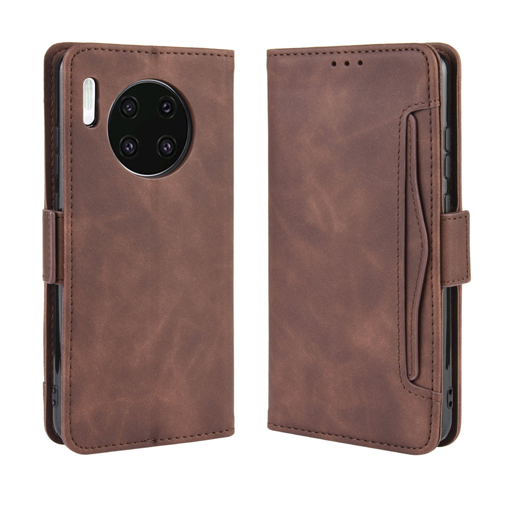 Huawei Mate 30 Wallet Case with Multiple Credit Card Holder Flip Cover Brown