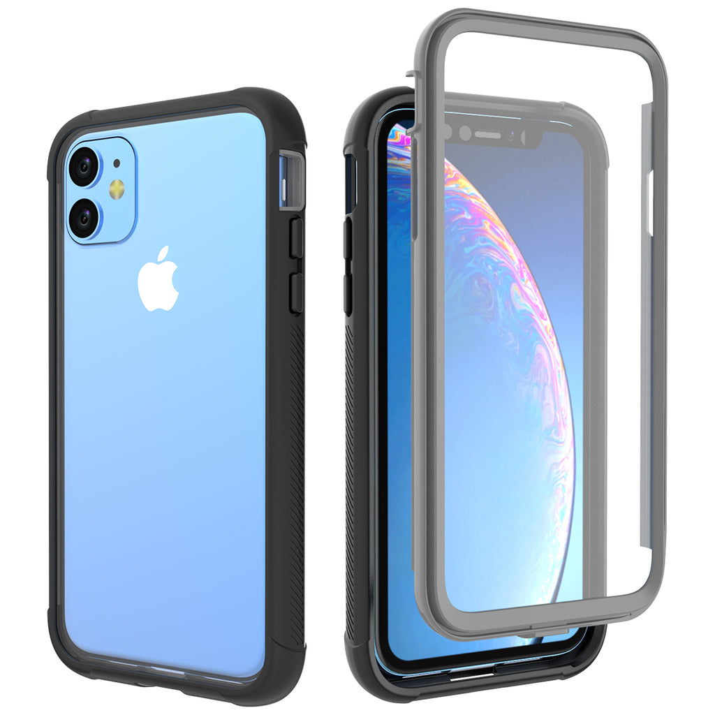 Case for iPhone 11 6.1inch with Screen Protector Shockproof Phone Cover Black