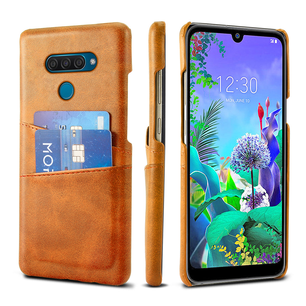 LG Q60 Wallet Case PC Hard Back Shell with Cardholder PU Leather Ccase Orange