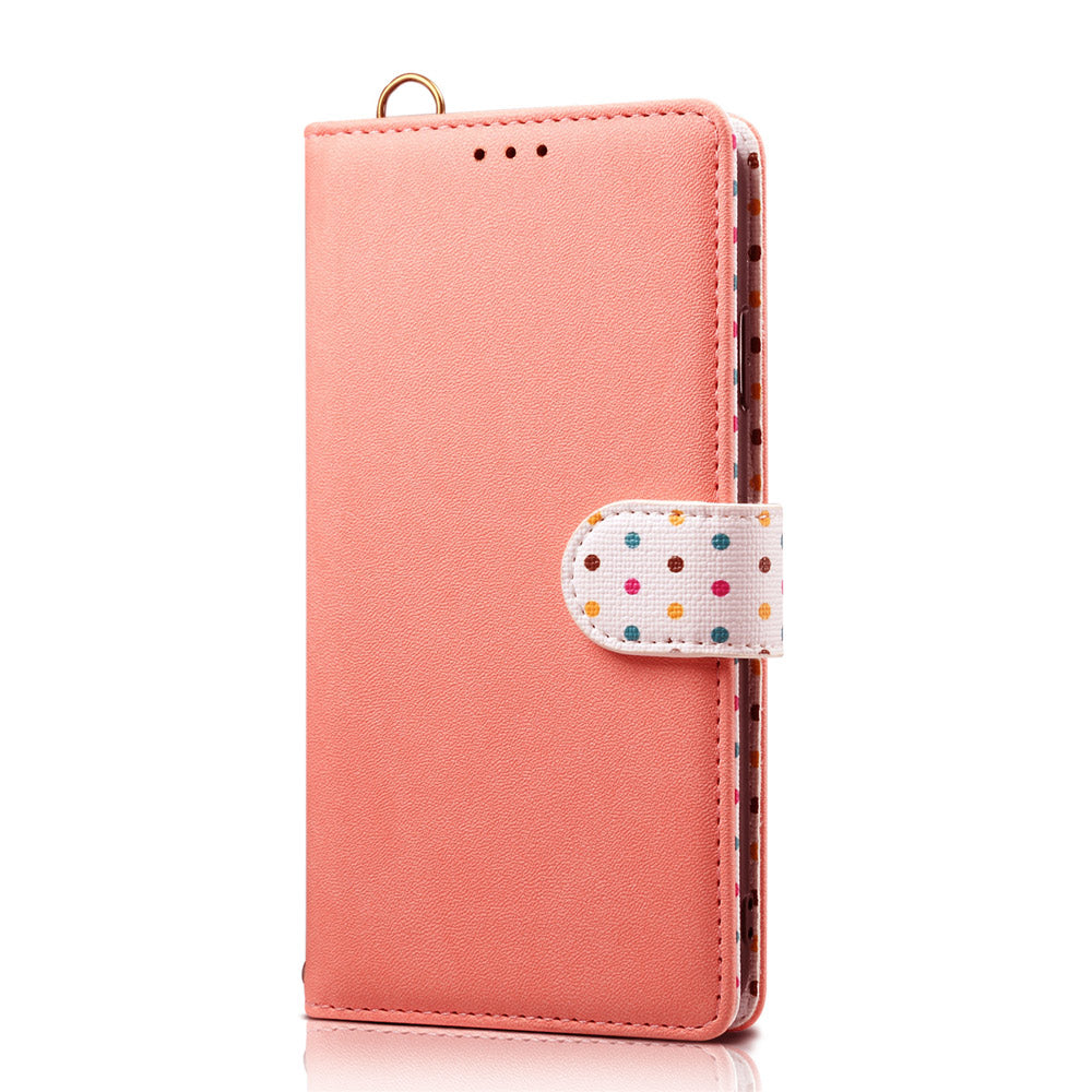 iPhone 11 pro Wallet Case Polka Dot Pattern PU Leather Flip Stand with Card Slots Pink