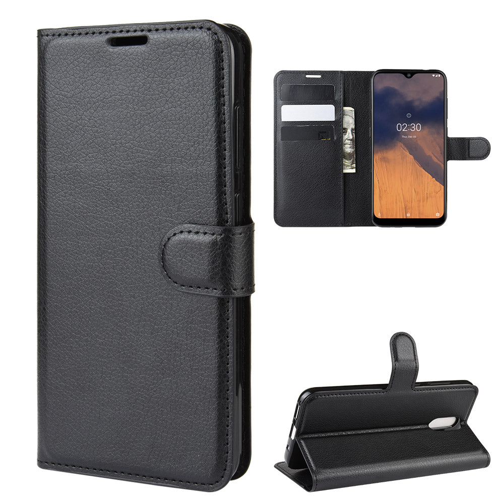 Nokia 2.3 Wallet Case Folio Stand Cover with ID&Credit Card Slots Lichee Pattern Leather Case Black