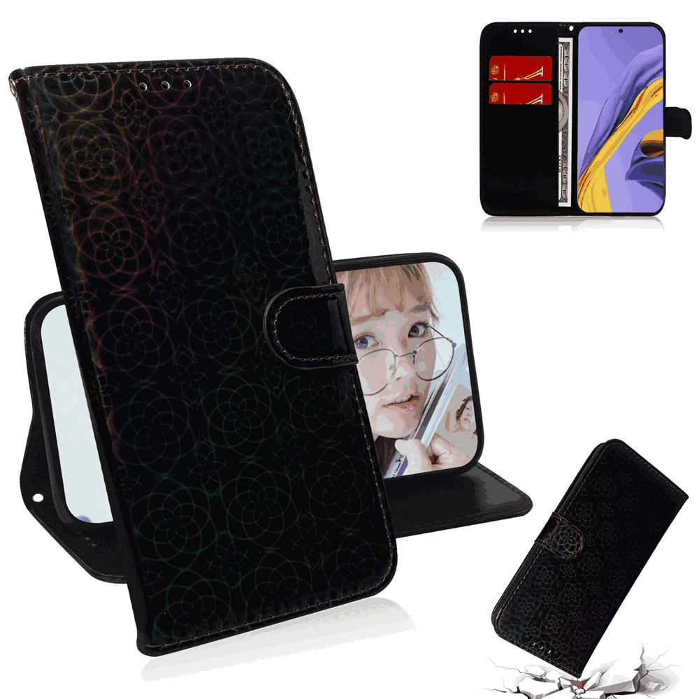 Samsung Galaxy A51 Leather Case Flip Stand Colorful Wallet Case with Card Slots Black