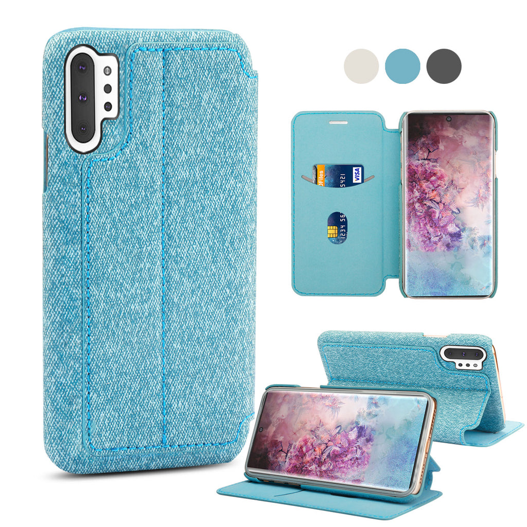 Galaxy Note 10 plus Leather Case with Magnetic Closure Stand & Card Slot Fabric Wallet Case Blue