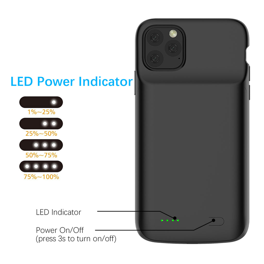 iPhone 11 pro max Battery Charging Case 5000mAh Extended Rechargeable Battery Case Black