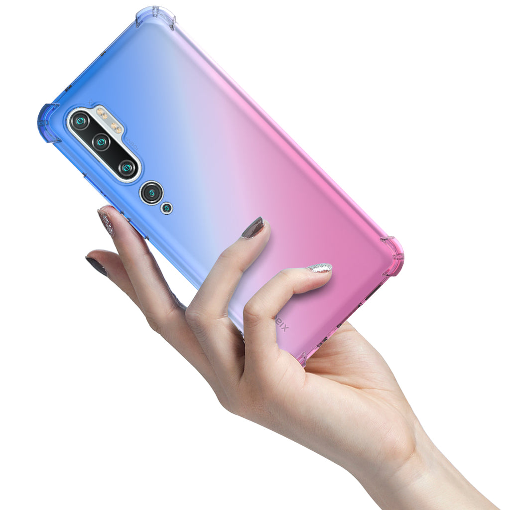 Clear Case for Xiaomi Mi Note 10 Pro Slim TPU Thin Protective Case Cover Blue-pink