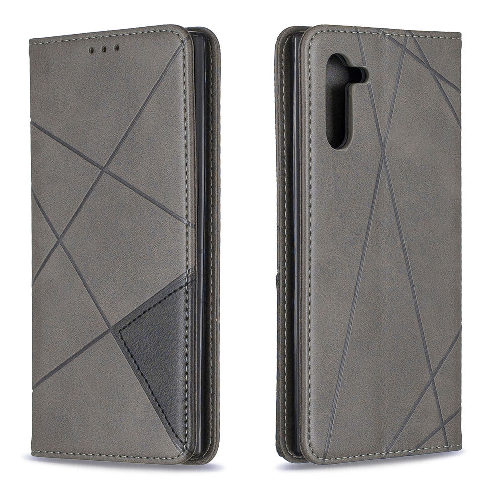 Phone Wallet Card Case for Galaxy Note 10 Magnetic Closure Card Slots Grey