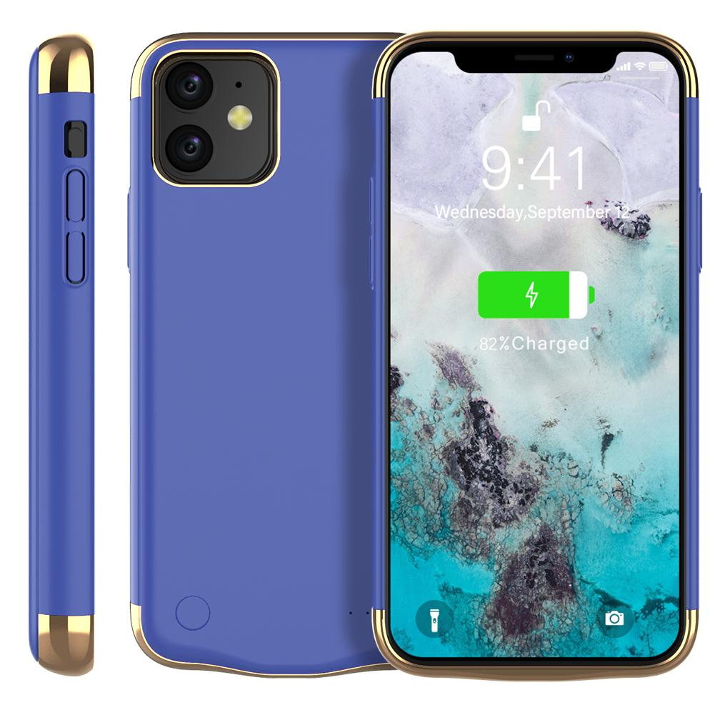 Battery Case for iPhone 11 6000mAh Extended Rechargeable Battery Pack Charger Case Blue