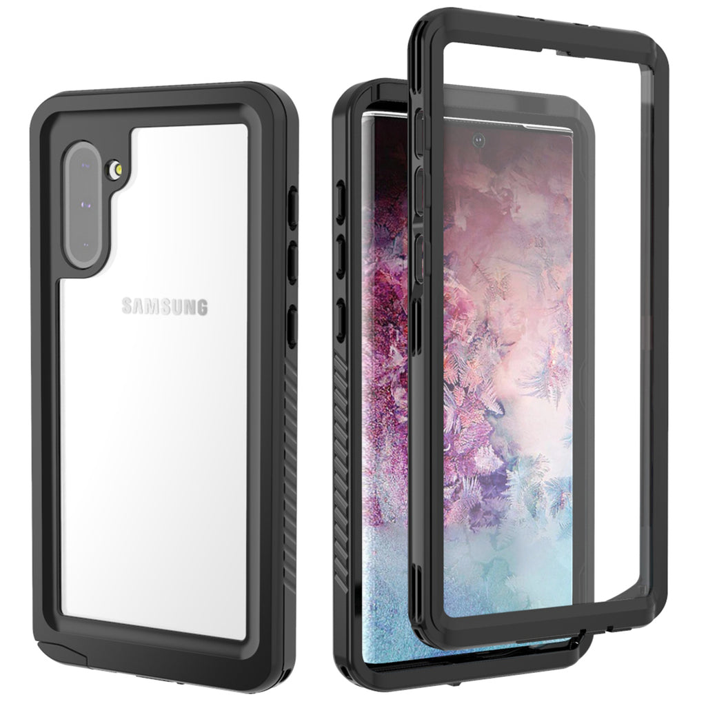 Galaxy Note 10 Case with Built-in Screen Protector Heavy Duty Shockproof Case Cover Black