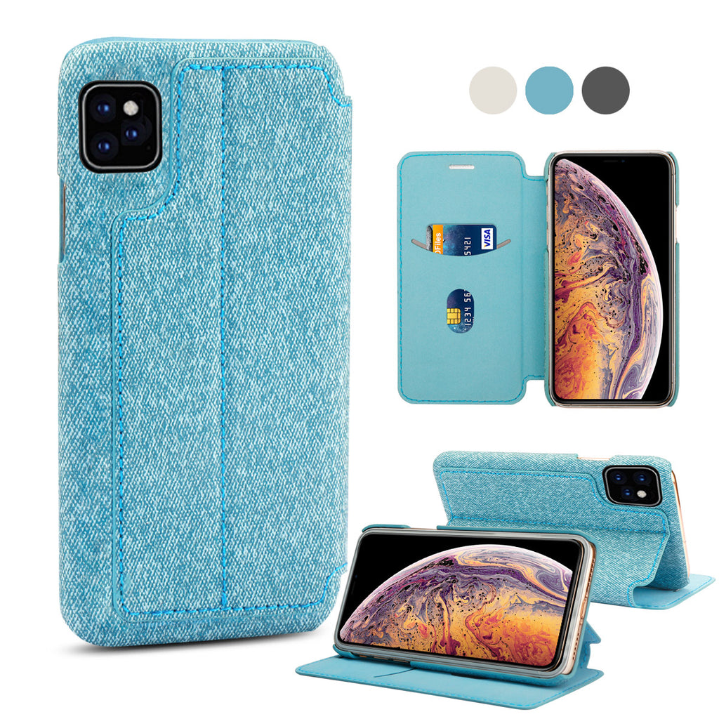 iPhone Xis Max Wallet Case with Card Holder Kickstand Leather Cover Blue