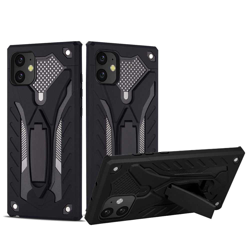 iPhone 11 Case Armor Phone Cover with Car Kickstand Knight Style Black