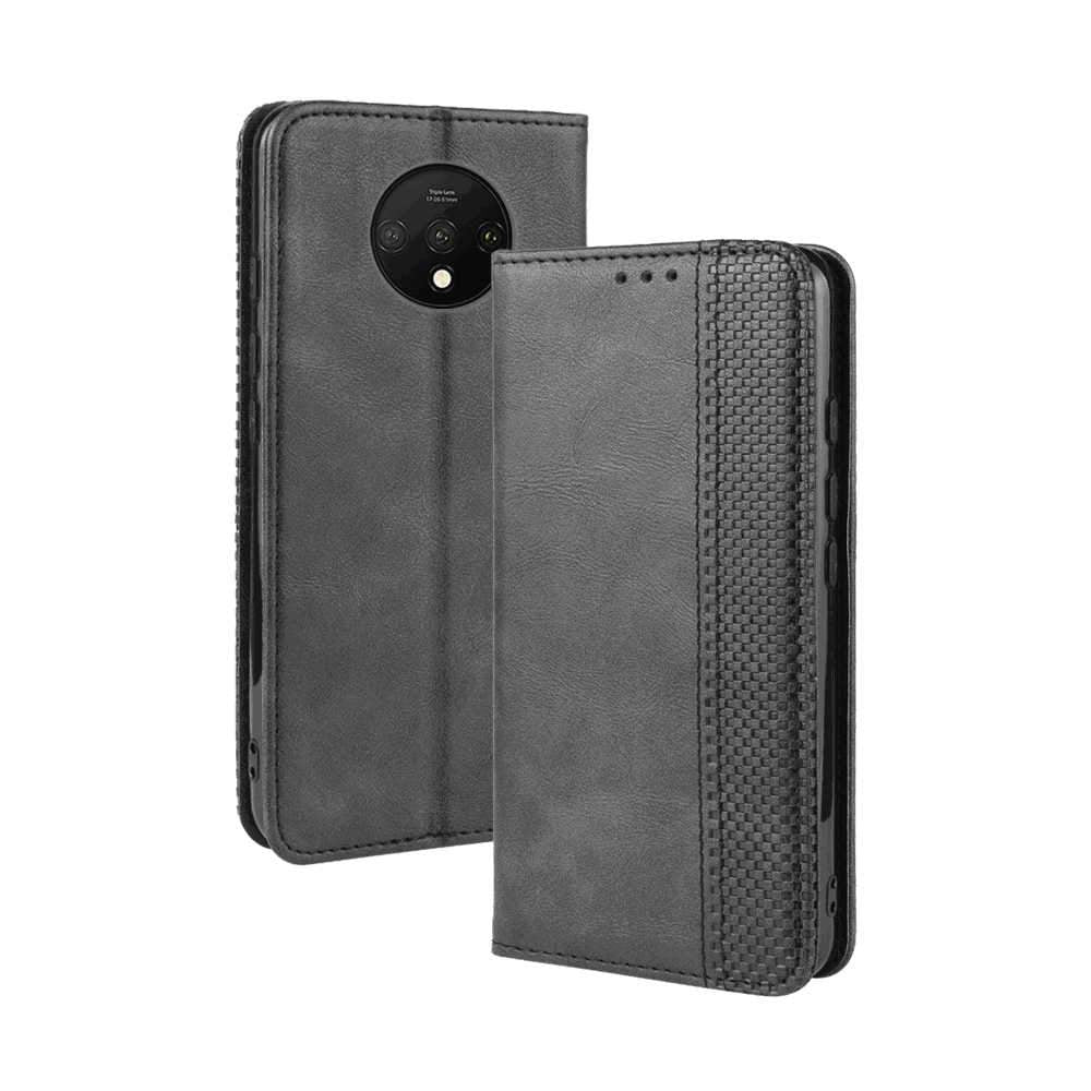 Oneplus 7T Wallet Case Vintage Leather Magnetic Flip Stand Cover with Card Slots Black