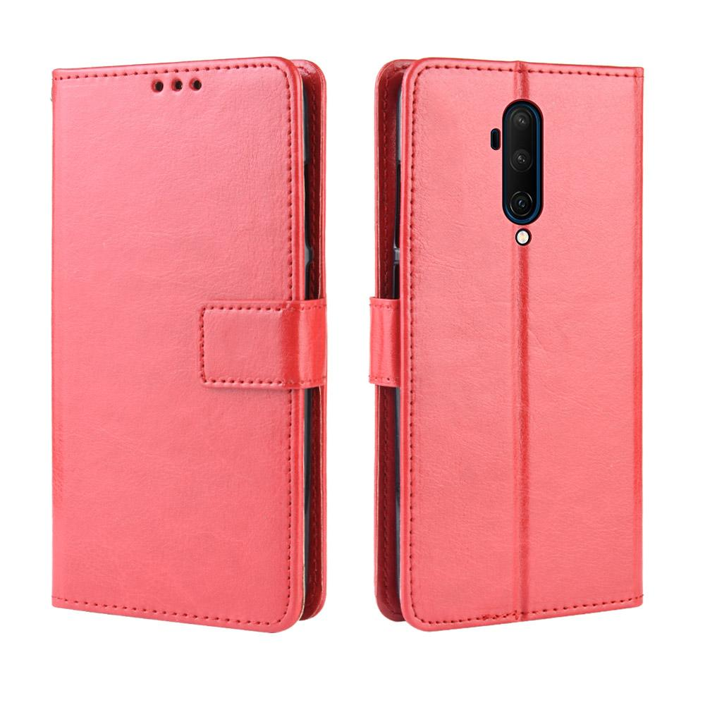 Leather Case for OnePlus 7T Pro Card Wallet Magnetic Closure Leather Cover Red