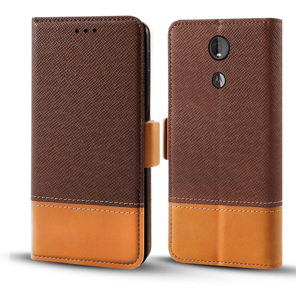 Moto Z4 Case Leather Wallet with Card Slots Shockproof Flip Cover Brown