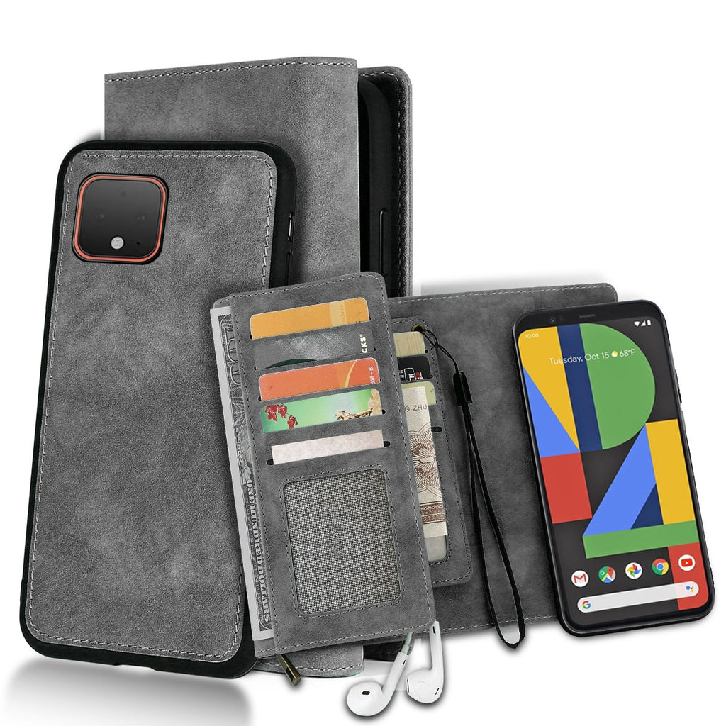 Pixel 4 XL Wallet Case Multiple Card Slots Wallet Folio Flip Leather Case Protective Cover Grey