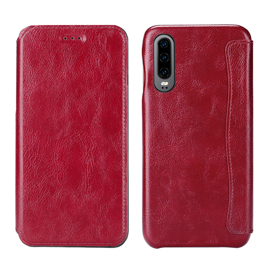 Huawei P30 Card Case Shockproof PU Leather Case Phone Wallet for Women Red