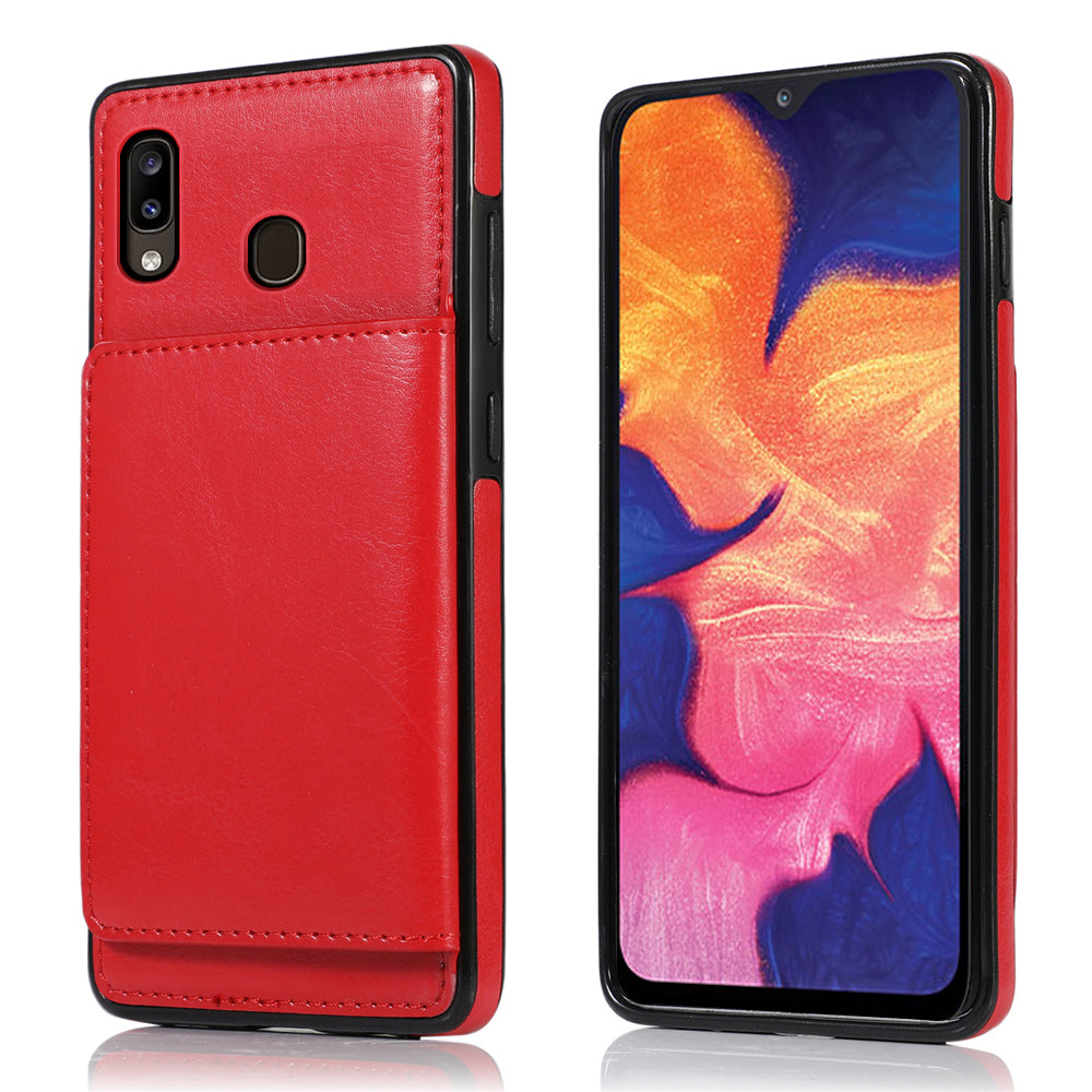 Cardholder Case for Samsung Galaxy A30 Full-Body Protective Shell Wallet Case Red