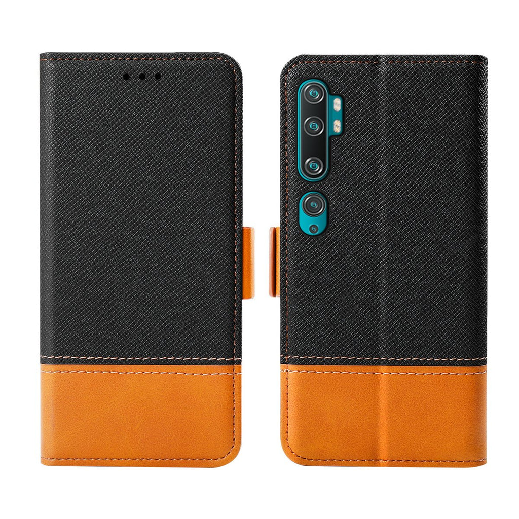 Xiaomi Mi Note 10 Wallet Case Leather Wallet Case with Kickstand Card Holder ID Slot Shockproof Cover Black