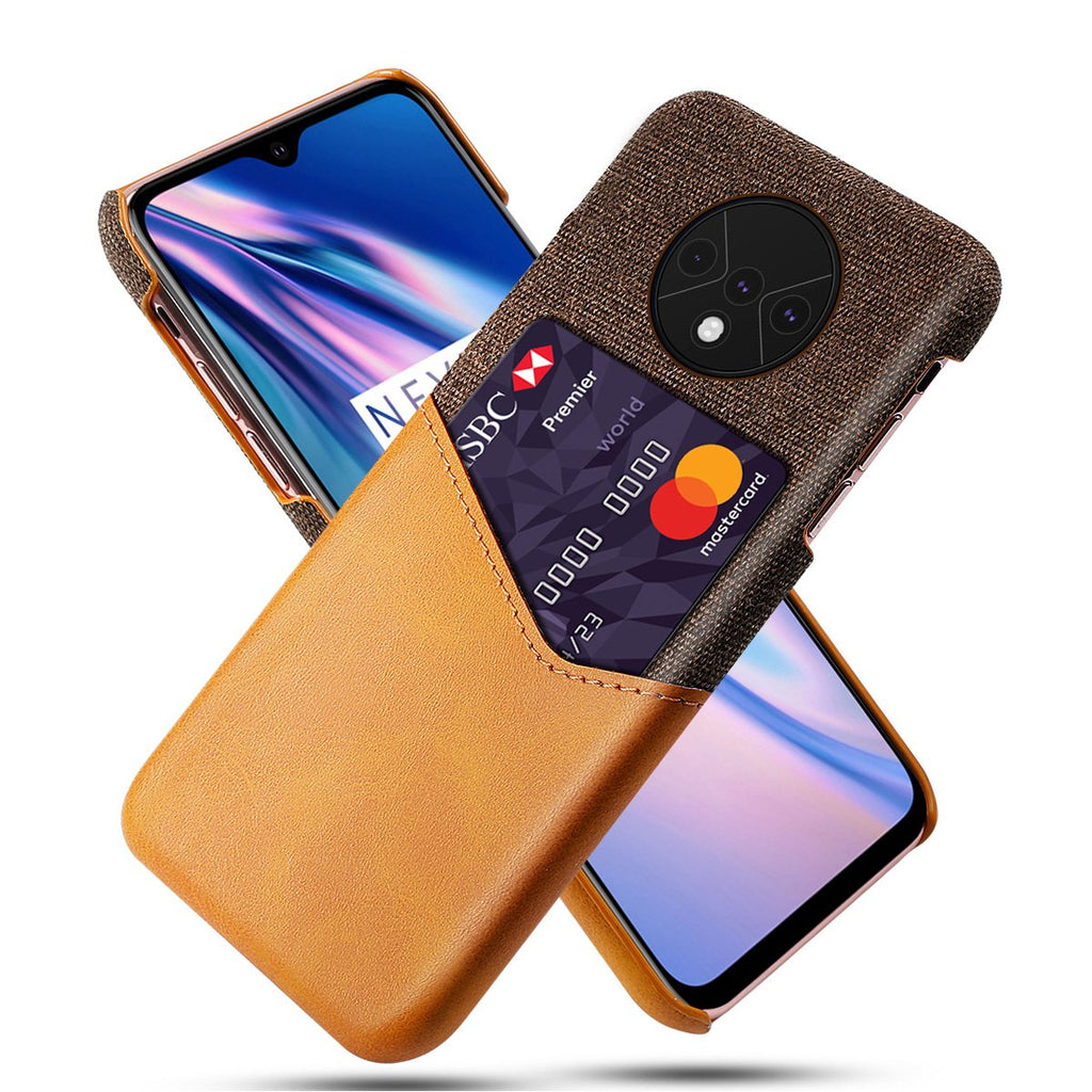 OnePlus 7T Case Wallet Case Card Holder Cover Shockproof with Credit Card Slot Orange
