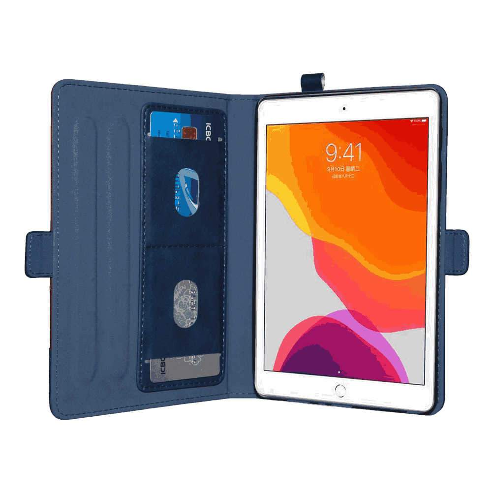 iPad 10.2 Inch 2019 Leather Case Multi-Functional Folio Stand Cover Pencil Holder Organizer Pocket Blue