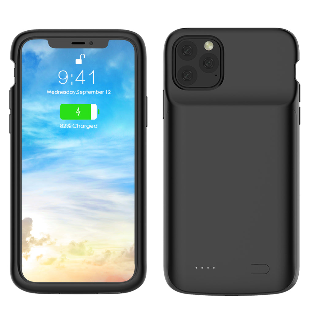 Battery Charging Case for iPhone 11 pro max External Charger Cover Rechargeable Case Black