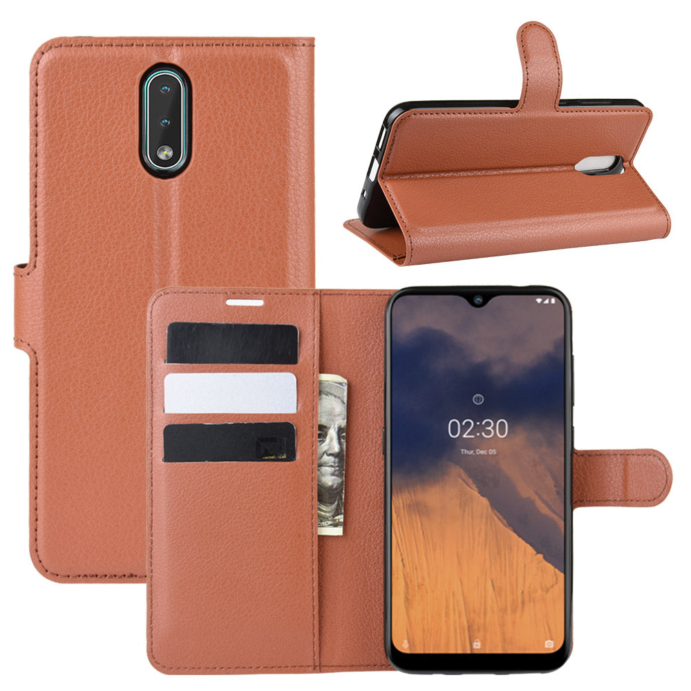 Nokia 2.3 Leather Case with Card Slots Wallet Flip Case Magnetic Closure Lichee Pattern Leather Case Brown