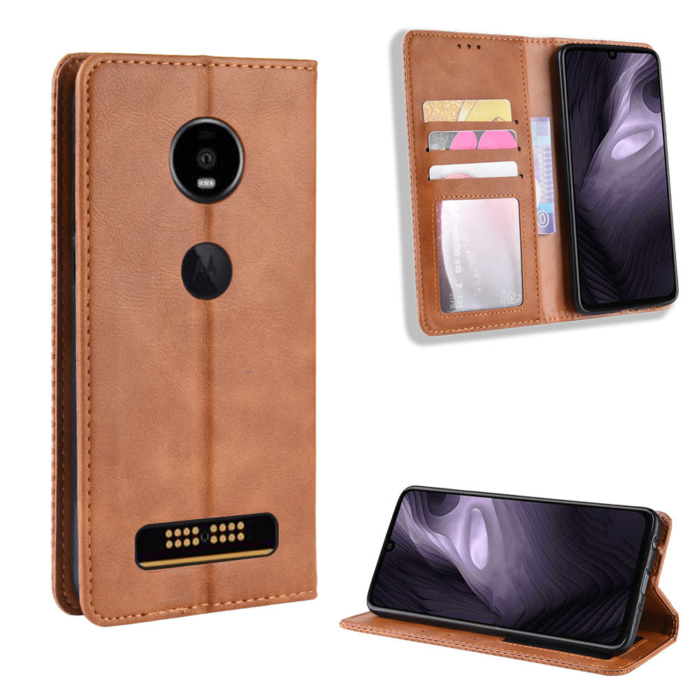 Leather Case for Moto Z4 Play with Card Slots Kickstand Vintage Wallet Case Brown