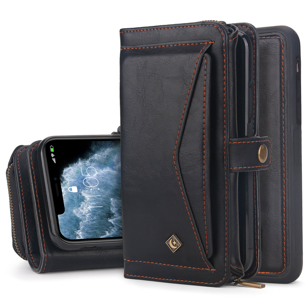 iPhone 11 Pro Detachable Wallet Case Magnetic Clasps Support Car Mount Kickstand Feature Black
