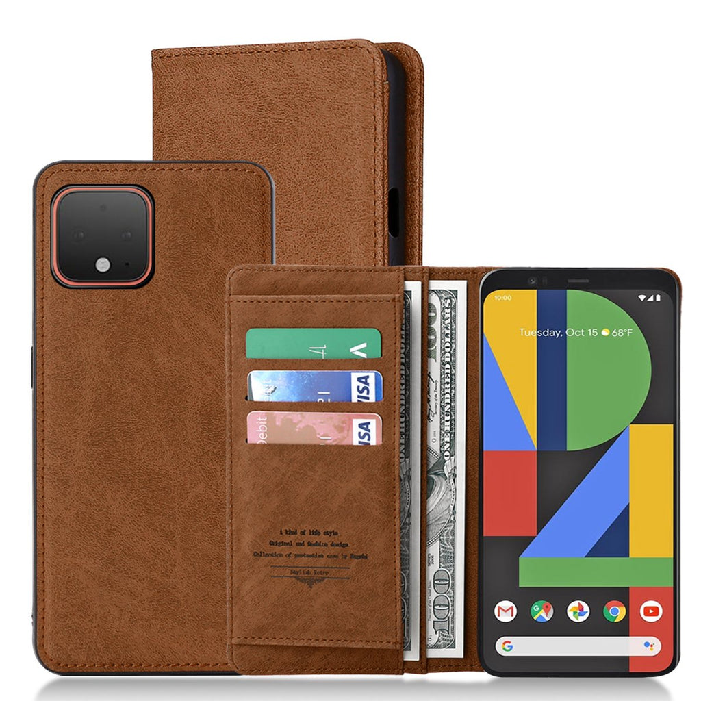 Wallet Case for Pixel 4 XL Leather Flip Case Cover with 3-Slots ID&Credit Cards Pocket Brown