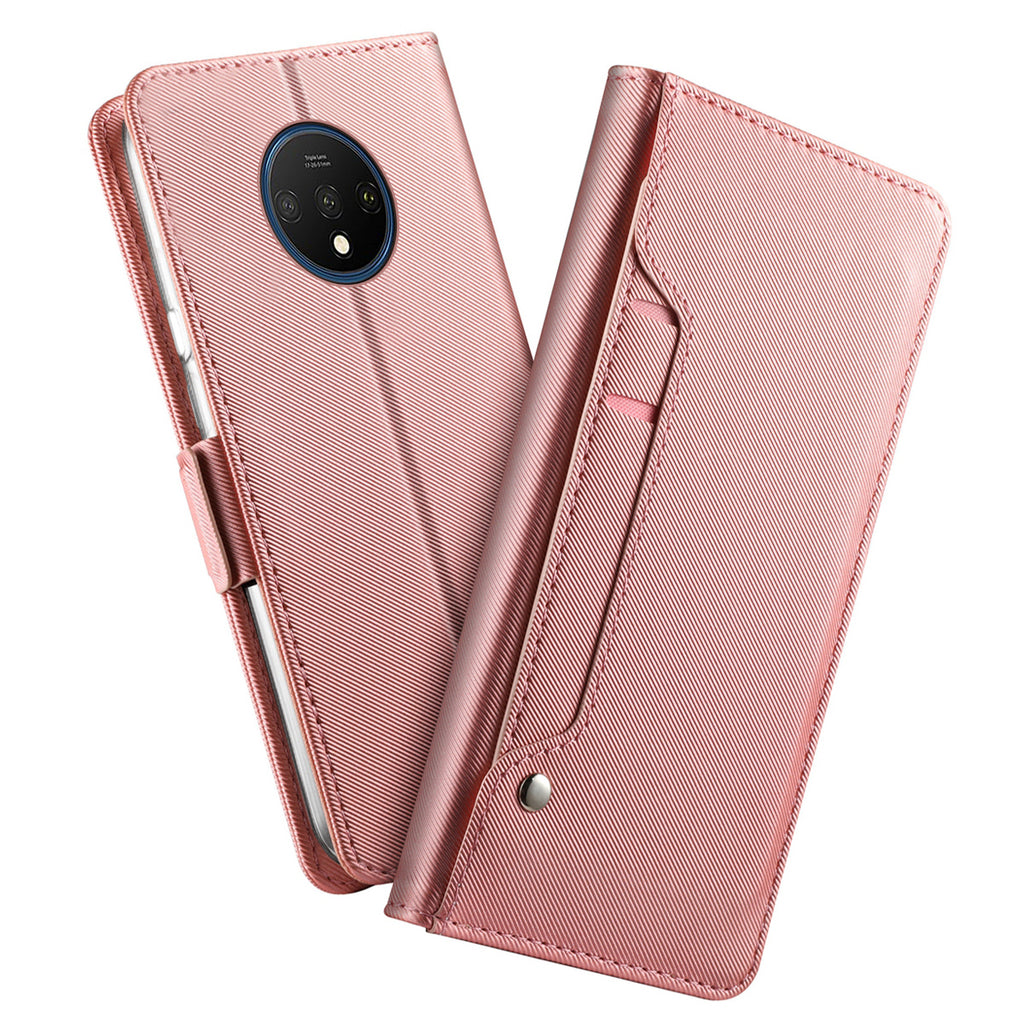 Oneplus 7T Leather Case with Kickstand Card Slots Multi-Function Wallet Phone Cover Rose Gold
