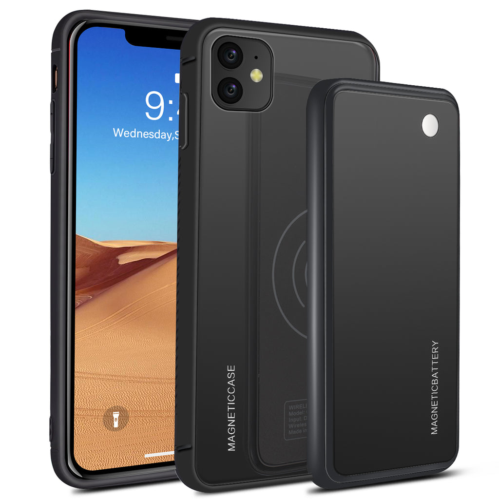 iPhone 11 Battery Case 5000mah Extended Rechargeable Battery Pack Wireless Charger Black