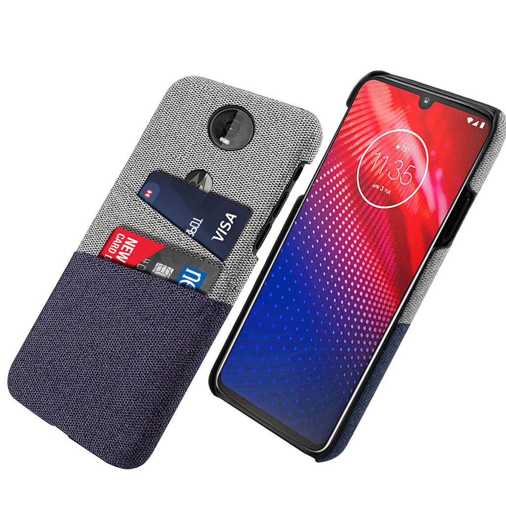Motorola Moto Z4 Case with Card Slots Anti Fall Thin Cover Blue