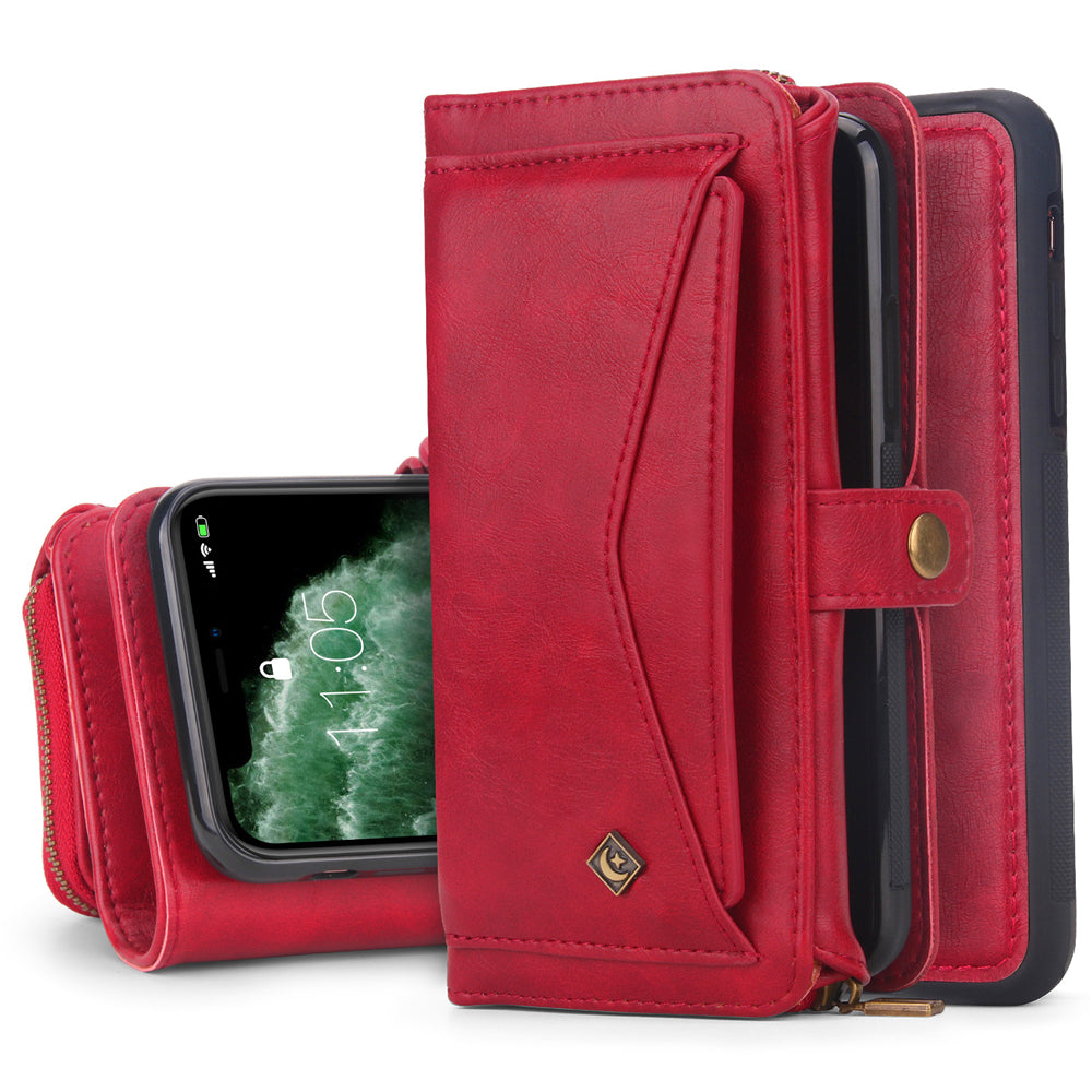 iPhone 11 Pro Max Leather Case with Kickstand Card Holder Slots Tri-fold Wallet for Women Red