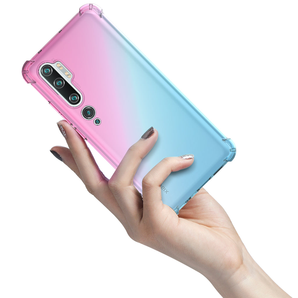 Xiaomi Mi Note 10 Pro Case TPU Clear Back Cover Shock Absorption Ultra-Thin Case Pink-green