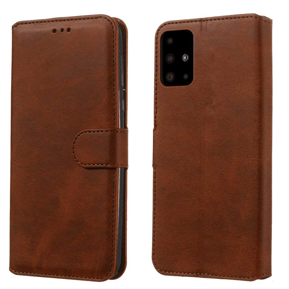 Samsung Galaxy A51 Leather Wallet Case with Credit Card Slot Flip Magnetic Stand Case Brown